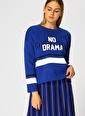 T-Box T-Box Kadın V Yaka Saks Mavisi Sweatshirt Saks